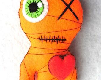 Pumpkin, The Little Halloween Mummy (orange) - Gothic, Voodoo, Doll (GREEN eye}