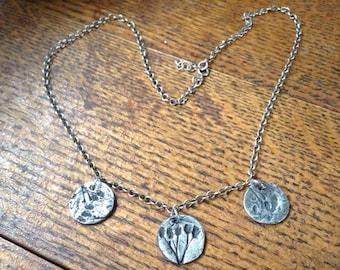 Fine silver Wildflower Charm Necklace