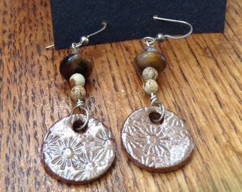Handmade beaded and paperclay earrings