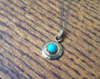 """14K Gold Necklace with 10mm turquoise and gold pendant.   18"""" long."""
