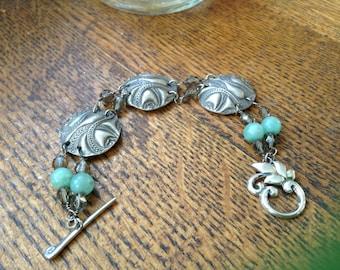 Fine Silver Medalion Link Bracelet