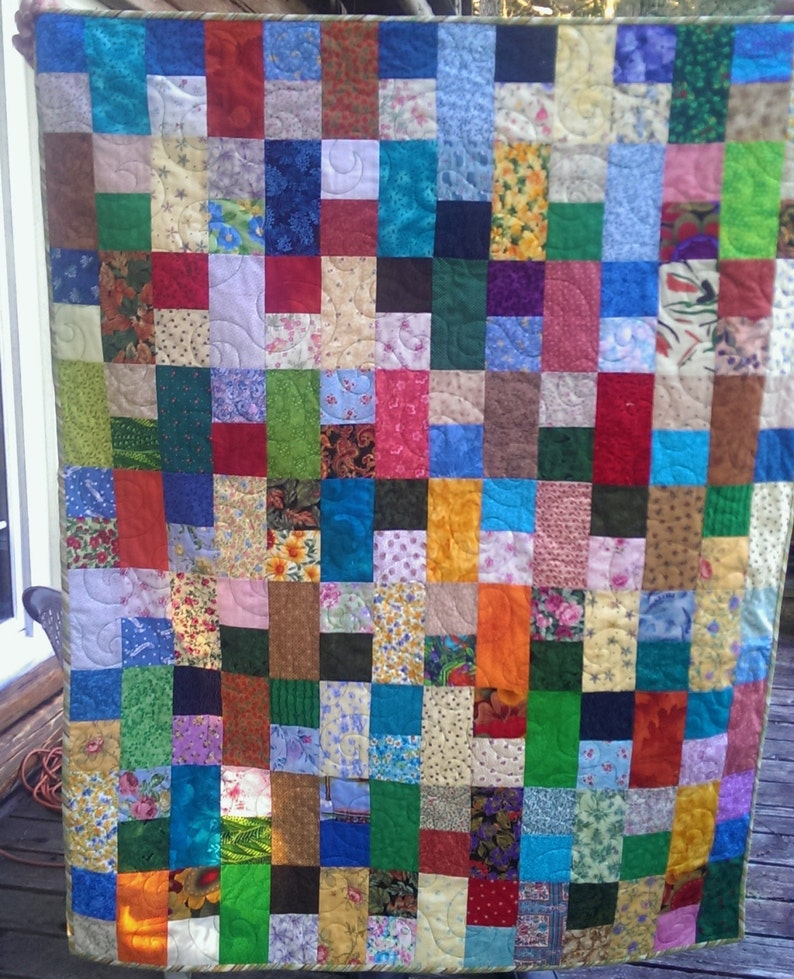 Bright Colors Scrap Quilt 42 x 54 inches Approx ChildBaby Quilt Free Motion Quilting Lap Quilt