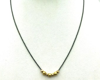 Faceted Gold Bead Necklace