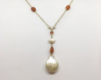 Pearl and Carnelian Beaded necklace with Pearl and Carnelian Drop