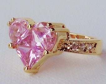 72a001a46 Pink Heart Ring Gold Pink Heart Jewelry Large Pink Heart ring Pink CZ heart  shape ring Heart shape jewelry gold ring CZ heart shape Pink
