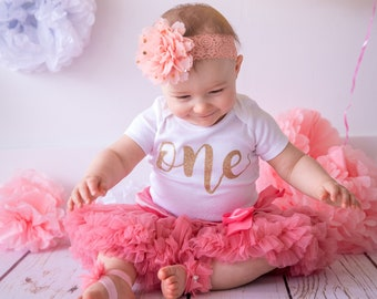 a7310b8e4 First Birthday Outfit Girl Peach Coral | one year old girl birthday outfit  | 1st Birthday Girl Outfit in Peach and Gold