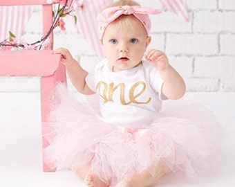 f75631bc59592 Pink and Gold First Birthday Outfit Girl