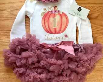 cd686823454 1st Birthday Girl Outfit | Fall first birthday outfit girl | Pumpkin  Birthday outfit | Muave Birthday | Plum Birthday | Personalized Outfit