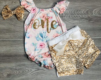 9e6ed9919 Peach and Gold First Birthday Outfit Girl | one year old girl birthday outfit  cactus | Baby girls first birthday outfit gold sequin shorts