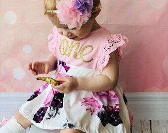 f7589a9d1 First Birthday Outfit Girl, First Birthday Dress, 1st Birthday Girl Outfit,  Floral Outfit Baby Girls | One Year Old Birthday