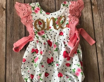 86a3a1b780ad First Birthday Outift Girl Strawberry