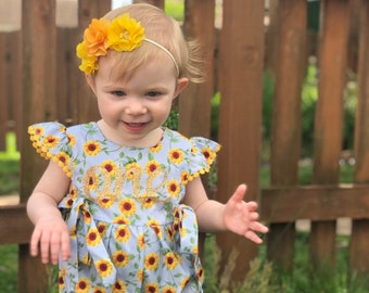 1ba01ccc704 Sunflower first birthday outfit girl