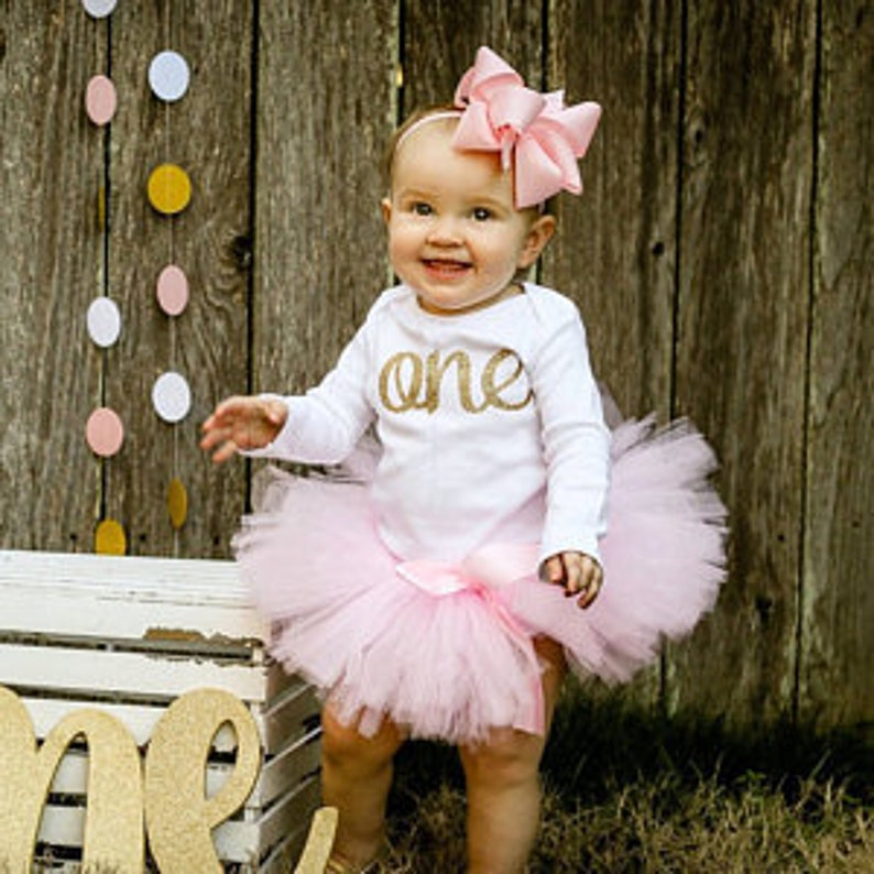 3476b054e0d4 Pink and Gold First Birthday Outfit Girl one year old girl | Etsy