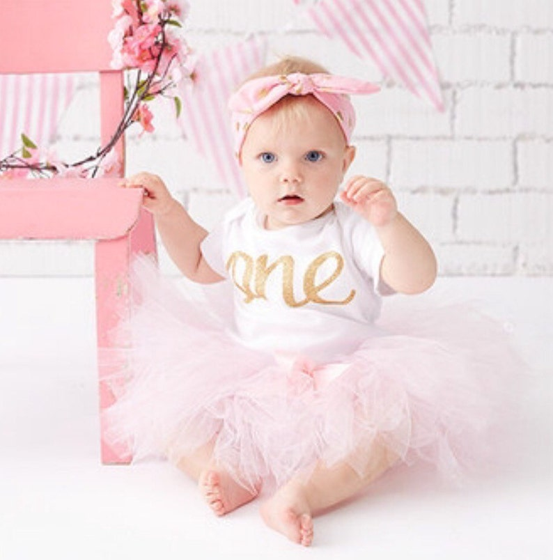 dc46e80aeed19 Pink and Gold First Birthday Outfit Girl one year old girl | Etsy
