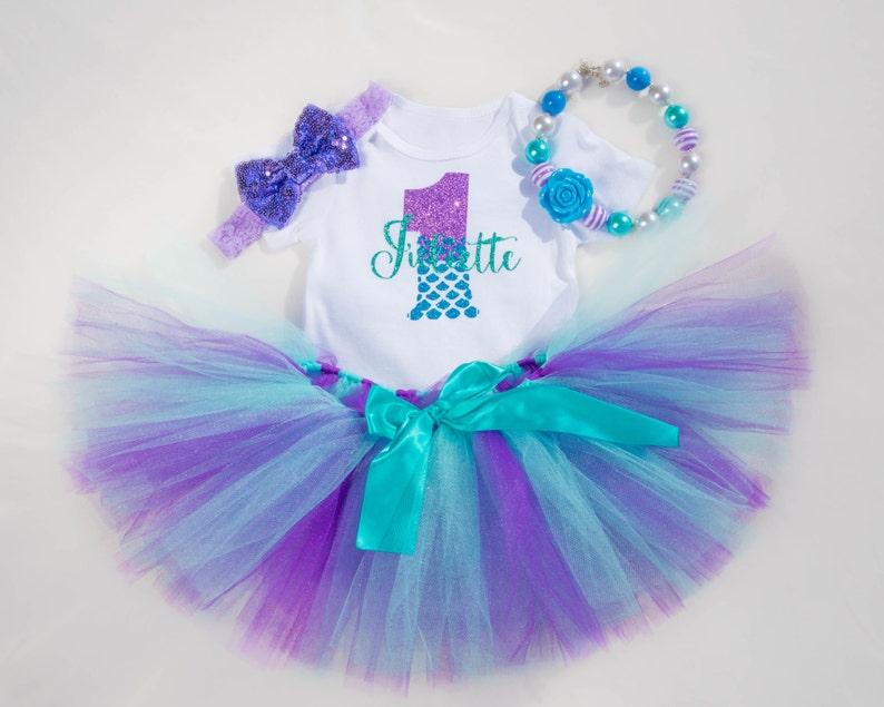 6cf403bd9f621 Mermaid First Birthday Outfit Girl Little Mermaid 1st   Etsy