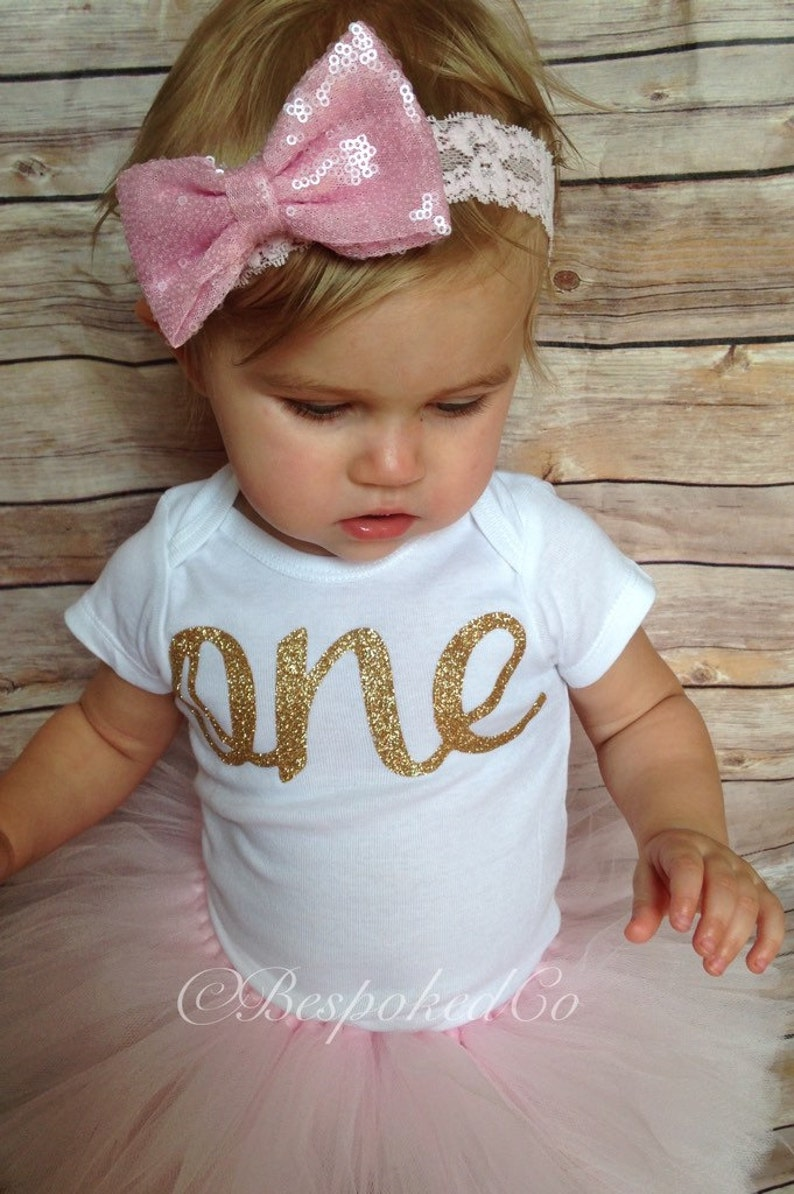 Cake Smash Outfit Girl Pink And Gold First Birthday