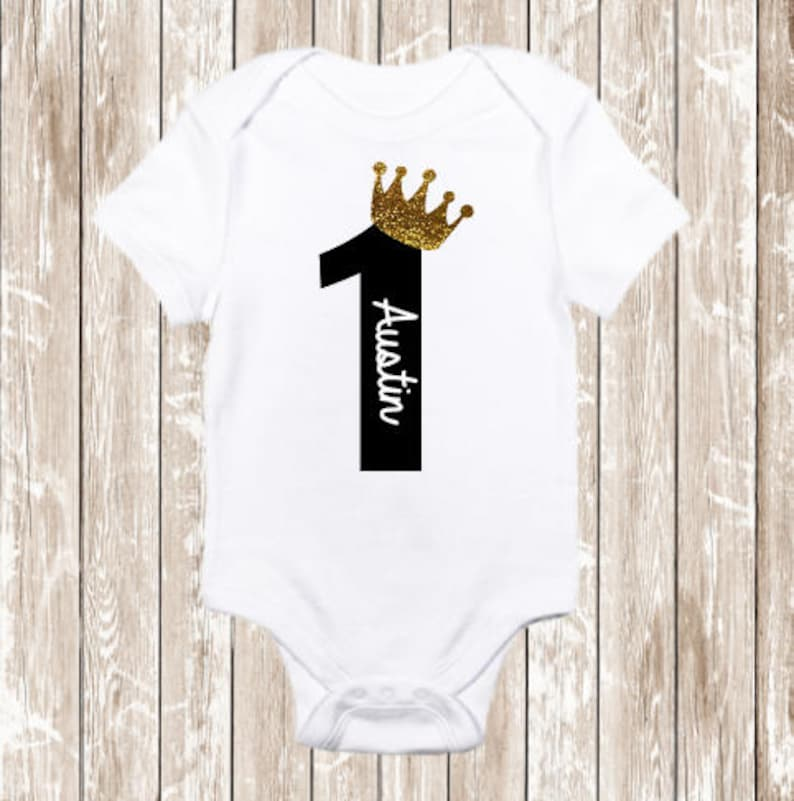 Baby Boy First Birthday Shirt Boys Black And Gold Birthda