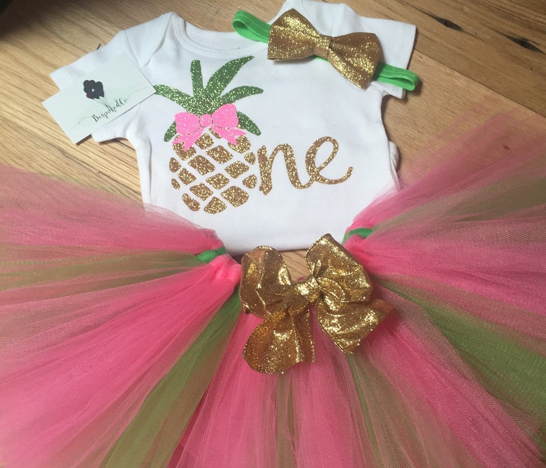 bf2228c9c893 Summer First Birthday Outfit Pineapple 1st Birthday Outfit