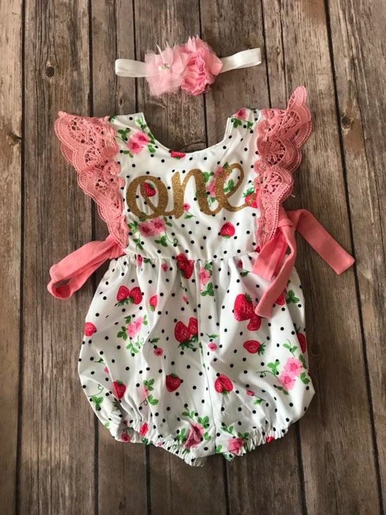 7851757848d First Birthday Outift Girl Strawberry Strawberry Romper