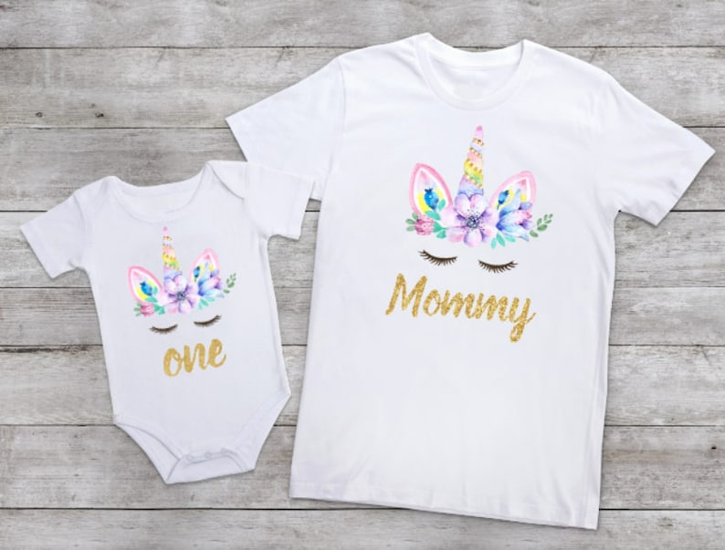 f76b428b Baby Girl unicorn first birthday shirt Mommy and Me outfits | Etsy