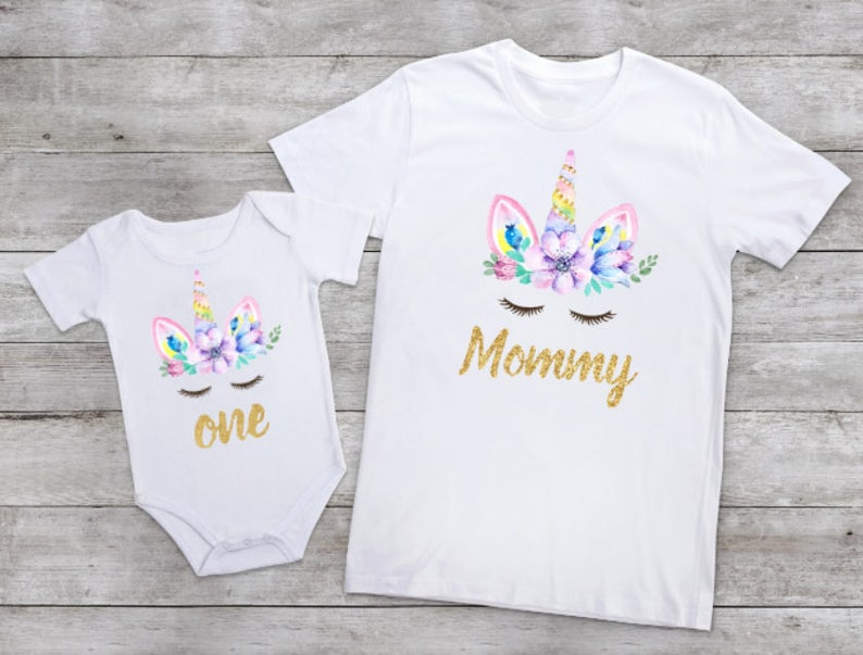 9fe7ff2fc Baby Girl unicorn first birthday shirt Mommy and Me outfits | Etsy