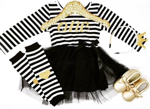 Première robe d'anniversaire | L'hiver premier anniversaire | Robe d'anniversaire noir et or | 1er anniversaire robe bébé fille | Robe rayée