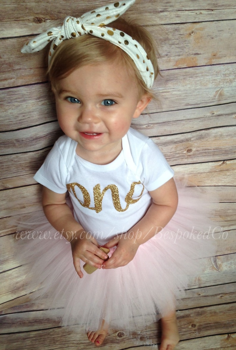 Baby Girls First Birthday Outfit With Knotted Headband Gold Etsy
