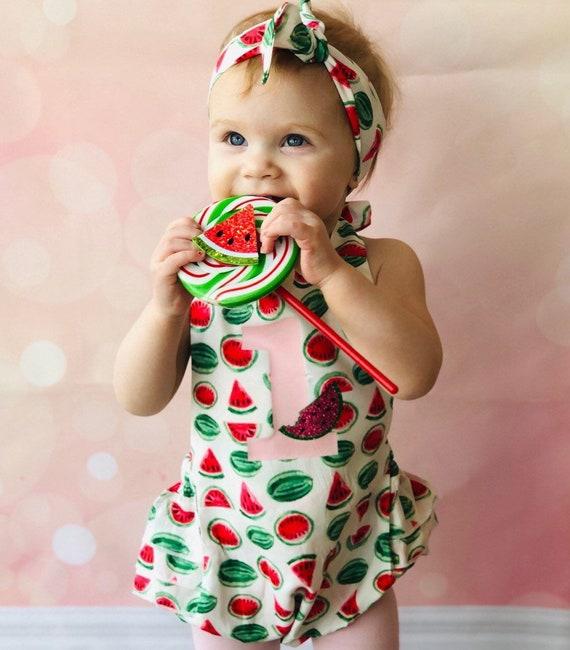 a42dc7179265 First Birthday Outift Girl Watermelon watermelon Romper