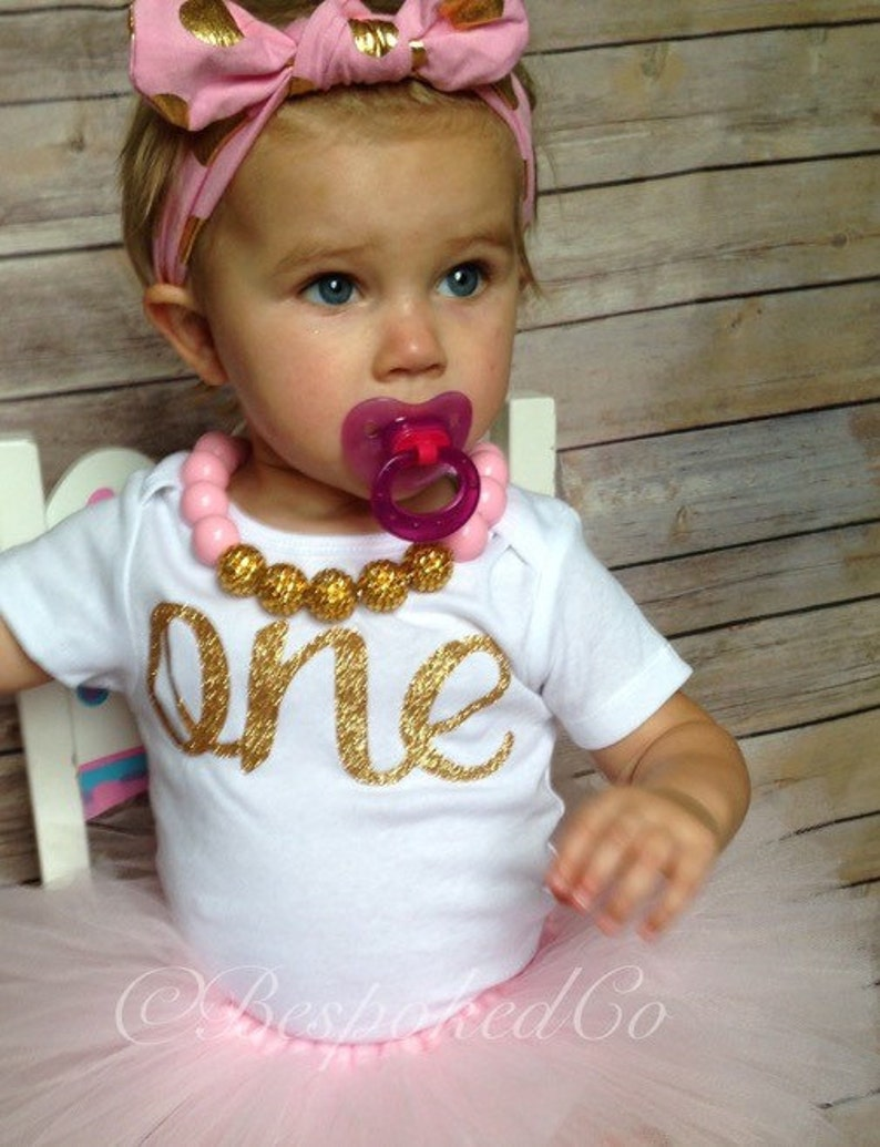 ffefe0a2af10 Baby girls first birthday outfit with knotted headband/Gold | Etsy