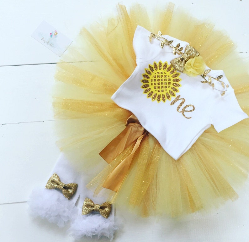 32208fcb3 Sunflower first birthday outfit baby girl / yellow and gold | Etsy