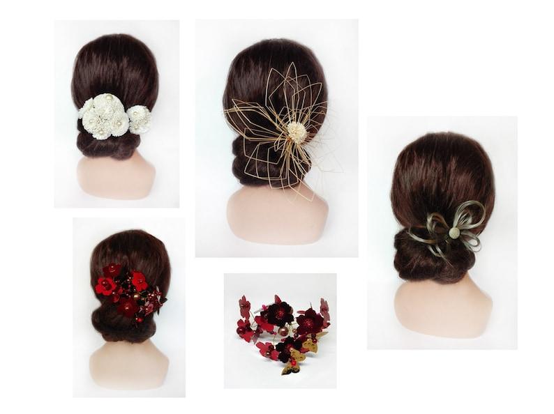 Minimalist red hair Hairpin wedding kanzashi comb ceremony image 0