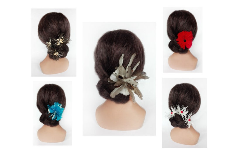 Royal derby Fascinator feather turquoise flower hair jewelry image 0