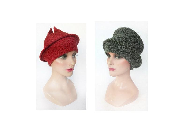 Autumn orange woman toque beret hat fancy boho cap image 0