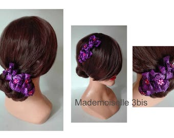 Purple hair pin chignon evening brooch, hat woman wedding ceremony, wedding hat hat, cocktail, hair pin hair accessories