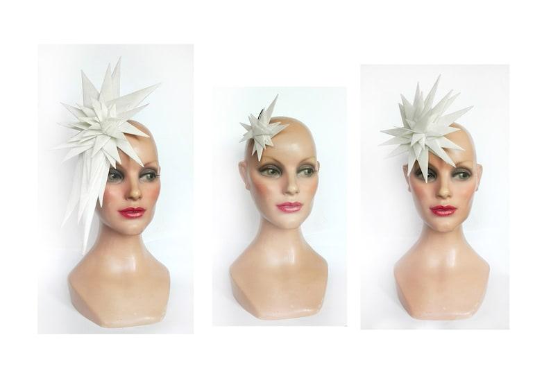 Fascinator star 2020 futuristic bride white derby hat image 0