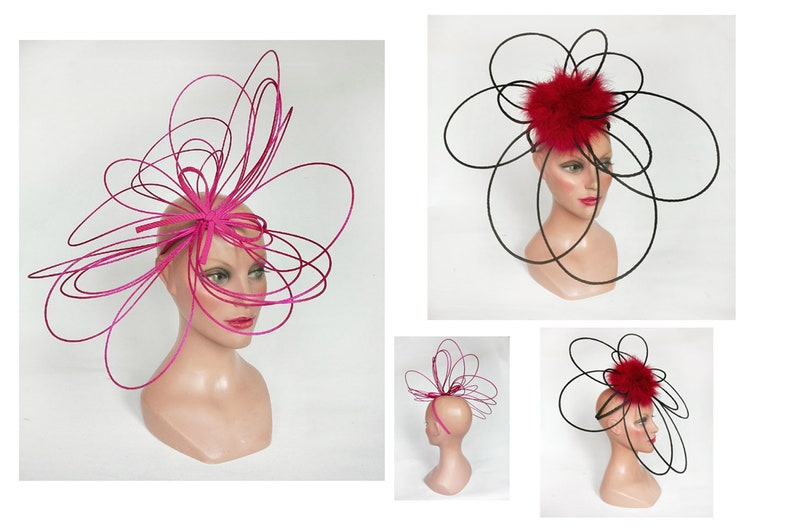 Grand fascinator Derby Royal pink Ascot hat woman black red image 0