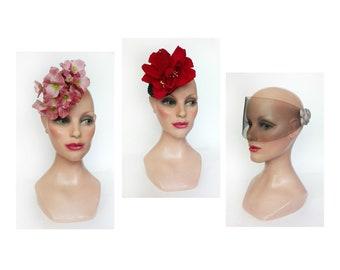 Women's cocktail hat, red wedding, futuristic veil bibi, straw hat ceremony