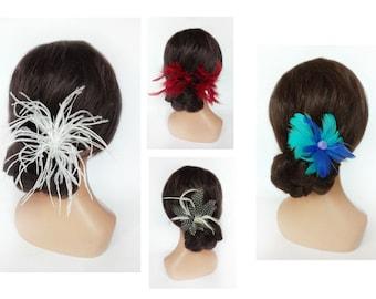 Wedding hair pin, ostrich feather bar, hair spades, hair jewelry, Kanzashi ceremony