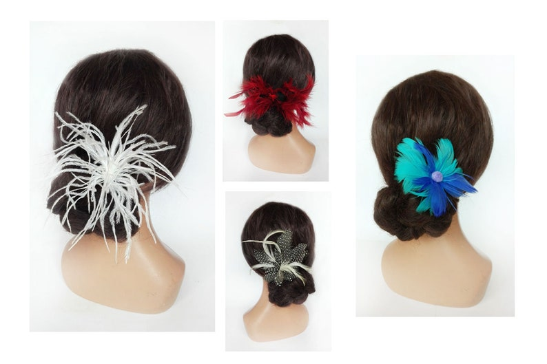 White Fascinator feather retro bride wedding hair stick hair image 0