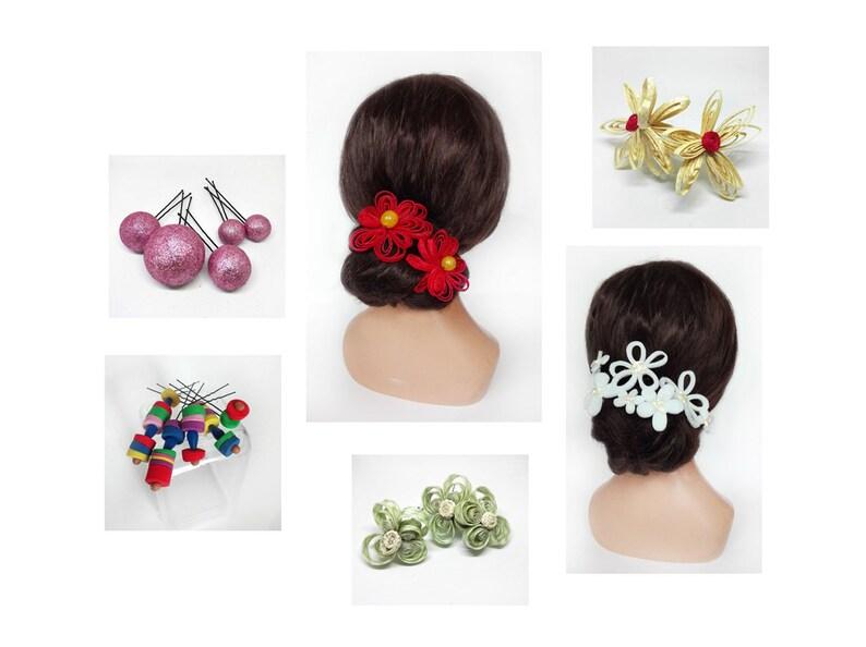 Kanzashi for boho wedding ceremonial hair accessories image 0
