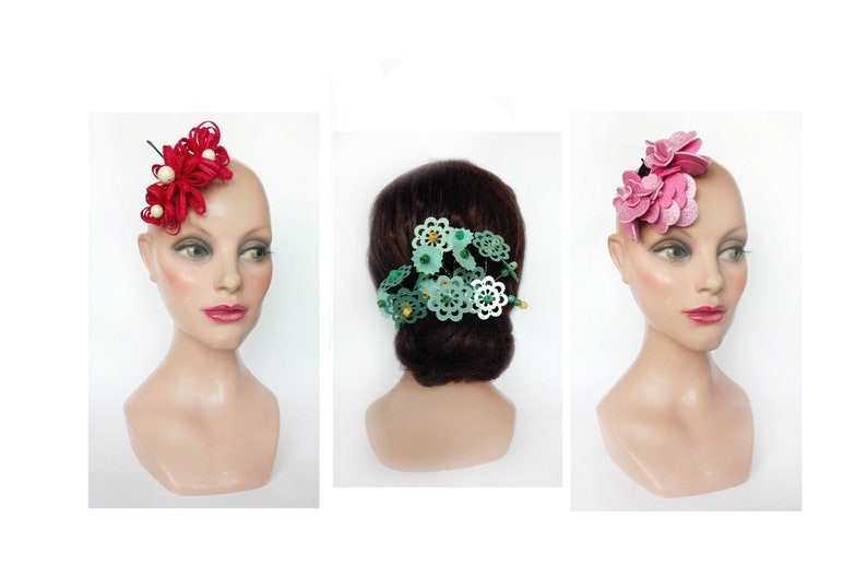 Hair pinch wedding 2020 little red fascinator flamenco bibi image 0