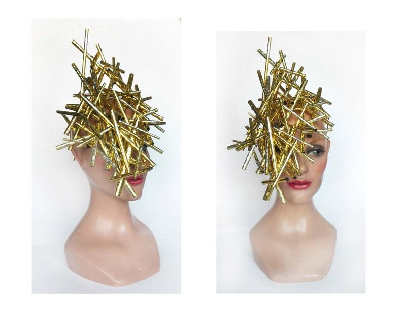 Fascinator hat derby royal Ascot gold futuristic hat image 0