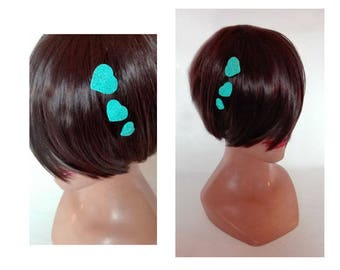 Hair clip turquoise heart, fascinator, ceremony, wedding Hat barrette hair clip