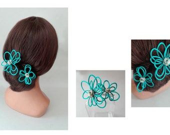 Quilted turquoise hair flower, Hairpin wedding, ceremony, wedding, woman wedding, child's barrette Hat Haarnadel Blue Hat