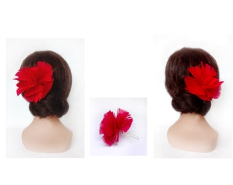 Tango flower hair accessories, flamenco, red feather bar fascinator, wedding feather, gala hair pin, unique woman gift piece