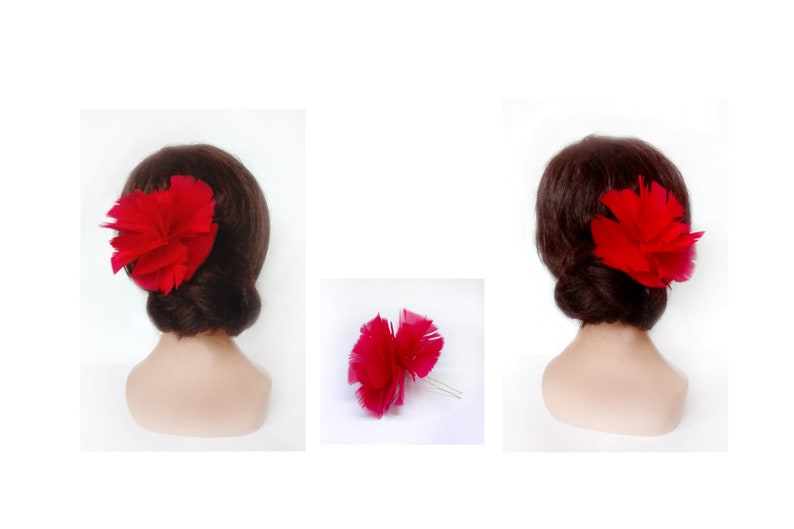 Tango flower hair accessories flamenco fascinator red image 0