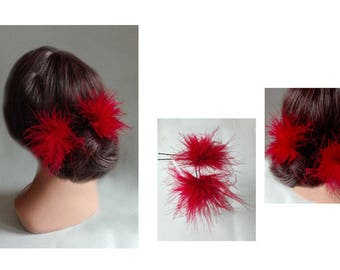 Red Feather hair Barrette, Federschmuck, fascinator wedding, Bridal, hair pin Hat ceremony, party hair stick, hair pin