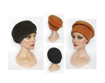 Women's hat winter, orange hat, fabric cap