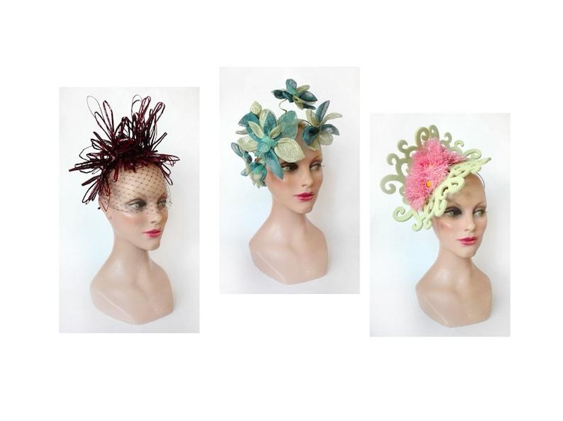 Fascinator derby royal Ascot wedding flower hat pink Pillbox image 0