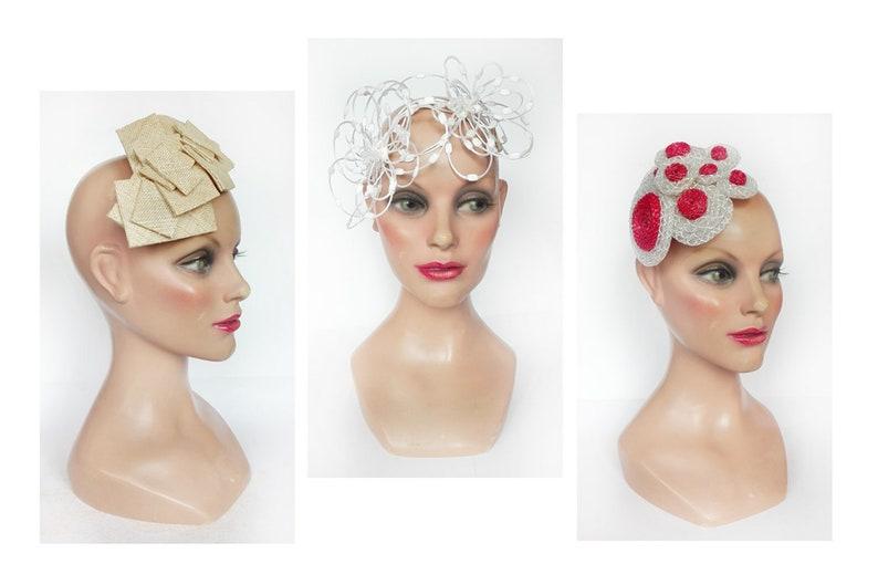 Fascinator headband wedding Bridal pink fascinator white image 0